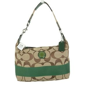 NWT Coach Signature Green Stripe Hobo
